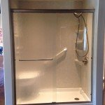 Acrylic Shower Base with Shower Door, Seat, and Grab Bar