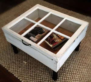 This Coffee Table Was Crafted With An Old Vintage Window Some 2x4 S Plywood And New Or Salvaged Wooden Legs