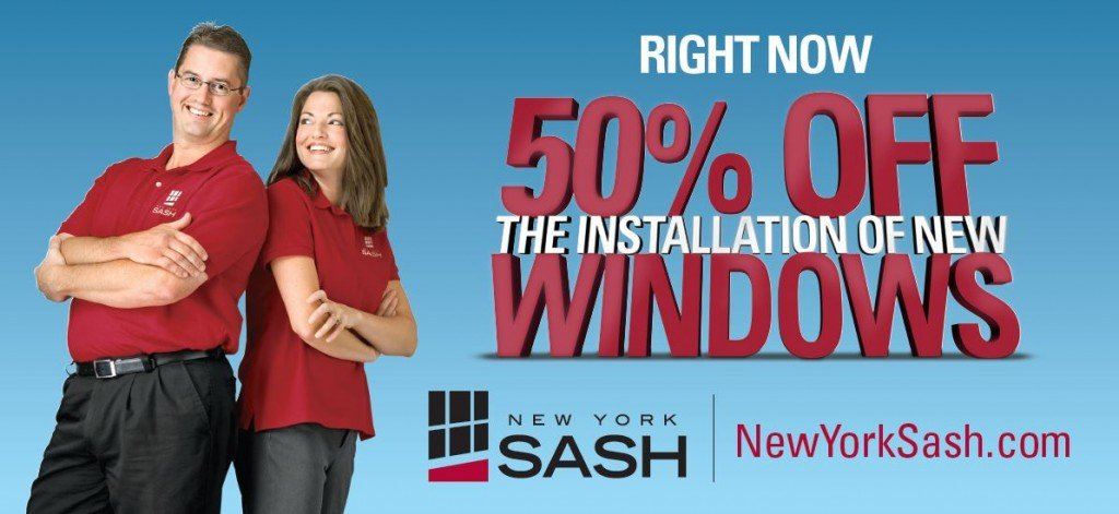 50 percent fof installation of new windows promo pic