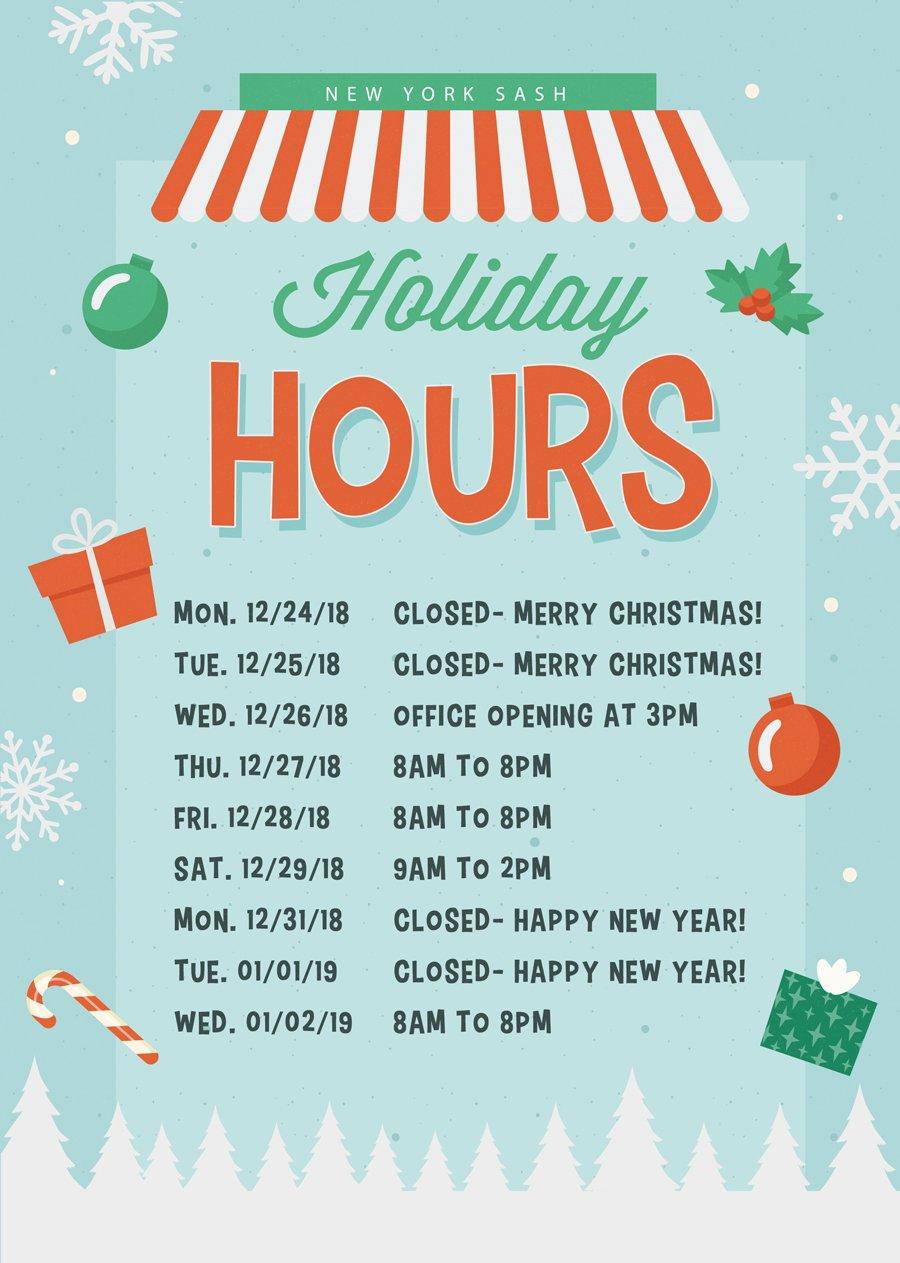 Christmas Card Holiday Hours New York Sash
